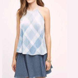 Cloth & Stone Checkered Sky Halter top